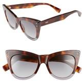 Fendi Women's 52Mm Cat Eye Sunglasses - Havana/ Grey