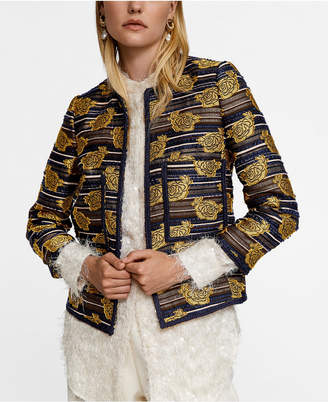 MANGO Leandra Medine Embroidered Jacquard Jacket