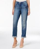 Style&Co. Style & Co. Petite Distressed Floral Amber Wash Boyfriend Jeans, Only at Macy's