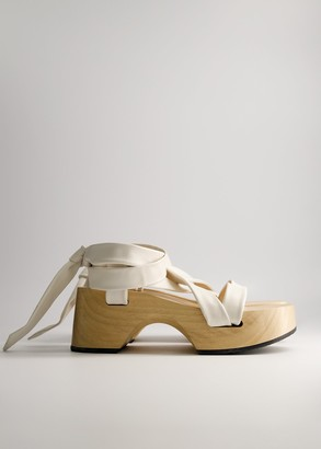 Jil Sander Women's Leather Lace Flatform Shoes in Natural, Size 40 | Leather/Wood