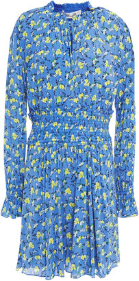 Diane von Furstenberg Shirred Floral-print Stretch-mesh Playsuit