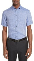 Armani Collezioni Men's Trim Fit Washed Linen Sport Shirt