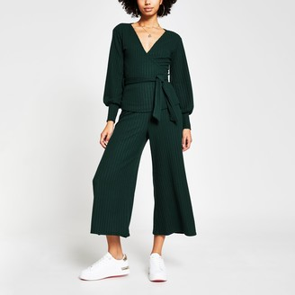 River Island Womens Green belted ribbed culottes