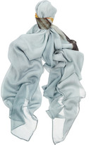 Temps des Rêves Pont Alexandre III printed modal and cashmere-blend scarf
