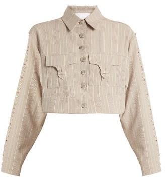 Art School - Blow Crystal-embellished Cotton Cropped Jacket - Grey Multi