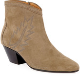 Isabel Marant Dacken Suede Booties with Flame Stitching