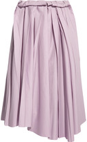 Marni Pleated Cotton Midi Skirt - Lilac