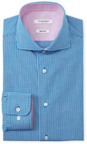 Isaac Mizrahi Teal Mini Gingham Slim Fit Dress Shirt
