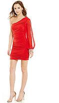 Jodi Kristopher One-Sleeve Ruched-Side Sheath Dress