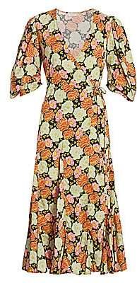 Rhode Resort Women's Fiona Neon Floral Puff Sleeve Wrap Dress