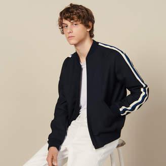 Sandro Varsity Jacket With Striped Braid Trim