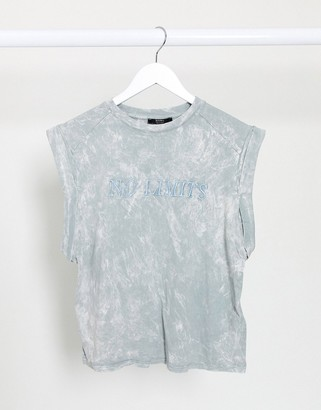 Bershka 'no limits' acid wash vest in grey