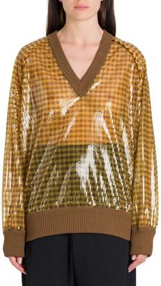 Fendi V-Neck Sequin Pullover