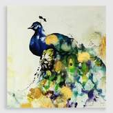Cost Plus World Market Watercolor Peacock Embellished Canvas Print