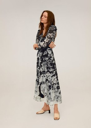 MANGO Flowy flower printed dress black - 2 - Women