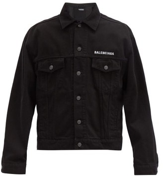 Balenciaga Crew-embroidered Denim Jacket - Black