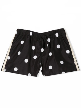Douuod Black Stretch Polka Dot Print Shorts