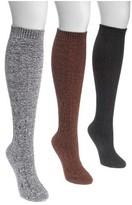 Muk Luks Women's Crosshatch Knee High Sock (3 Pairs)