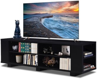 """Overstock 59"""" Console Storage Entertainment Media Wood TV Stand-Black"""