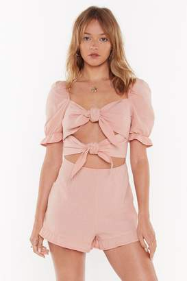 Nasty Gal Womens I Knot You Babe Puff Sleeve Tie Playsuit - Pink - 8
