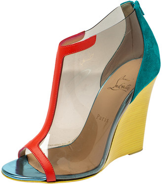 Christian Louboutin Multicolor PVC, Suede and Leather Trim Wedge Peep Toe Booties Size 39