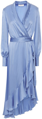 Zimmermann Asymmetric Ruffled Washed-silk Wrap Dress