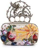 Alexander McQueen Flying-unicorn sequin-embellished knuckle clutch