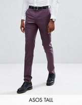 Asos TALL Skinny Suit Pants in 100% Wool In Dusky Purple