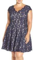 Eliza J Plus Size Women's Lace Fit & Flare Dress