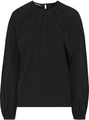 Rochas Tie-back Stretch-cotton Poplin Blouse