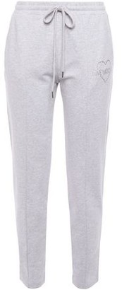 Love Moschino Crystal-embellished Melange Cotton-blend Fleece Track Pants