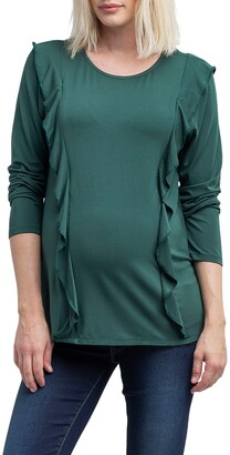 Nom Maternity Fiona Ruffle Trim Maternity/Nursing Top