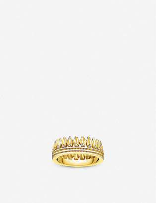 Thomas Sabo Magic Garden crown yellow gold-plated sterling silver and cubic zirconia ring