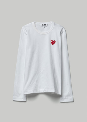 Comme des Garcons Women's Long Sleeve Red Heart T-Shirt in White Size Small 100% Cotton