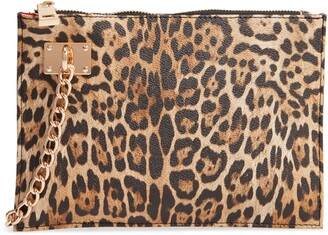 Sondra Roberts Leopard Zip Top Faux Leather Wristlet Clutch