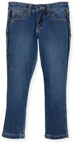 Billieblush Denim Jeans w/ Metallic Trim Sides, Size 4-8