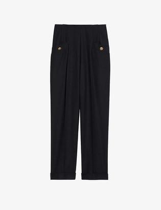 Sandro Sieny wide-leg wool-blend trousers