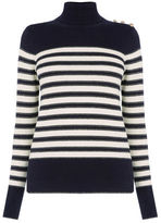 """Oasis STRIPE BUTTON POLO JUMPER [span class=""""variation_color_heading""""]- Multi Blue[/span]"""