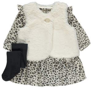 George Leopard Print Gilet, Dress and Tights Outfit