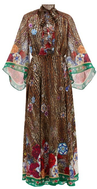 Camilla Jewel Of Jupiter-print Silk-crepe Wrap Dress - Brown Print