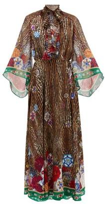 Camilla Jewel Of Jupiter-print Silk-crepe Wrap Dress - Womens - Brown Print
