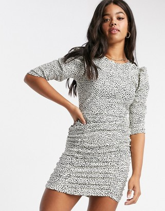 New Look ruched mini dress in animal print