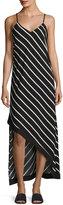 Dex Asymmetrical Striped Maxi Dress