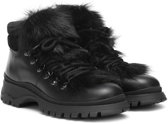 Prada Fur-trimmed leather ankle boots