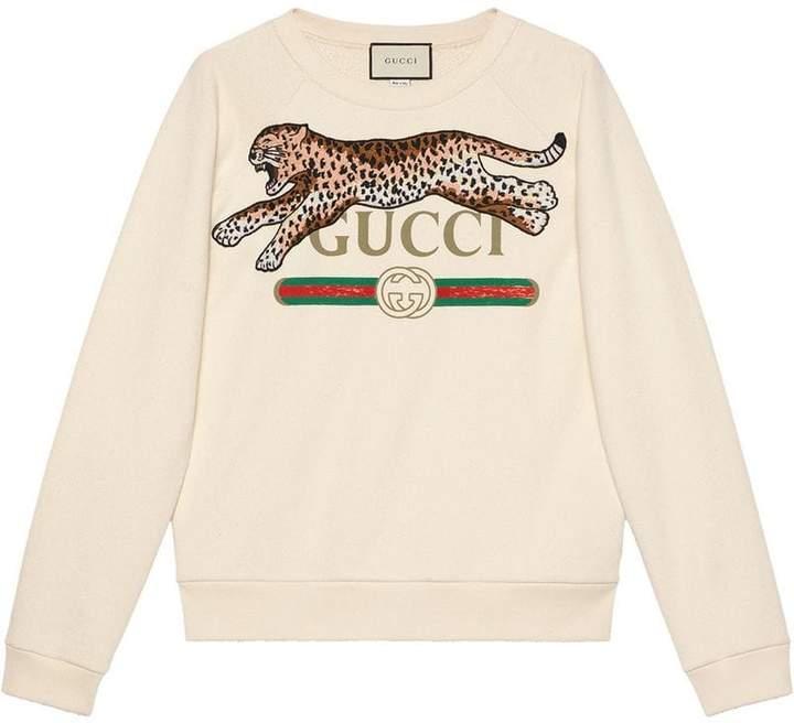 Gucci logo sweatshirt with leopard