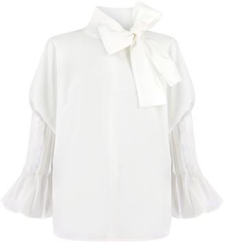 Monica Nera Margaret White Ruffle Bow Tie Shirt