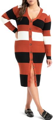 ELOQUII Stripe Cardigan Long Sleeve Sweater Dress