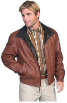 Scully Men's Featherlite Leather Jacket w/ Double Collar 48 Tal