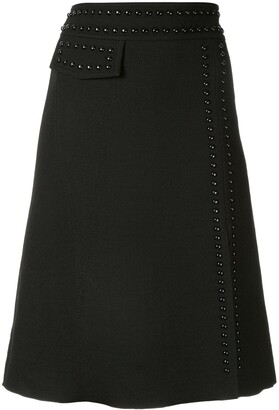 Giambattista Valli stud embellished A-line skirt