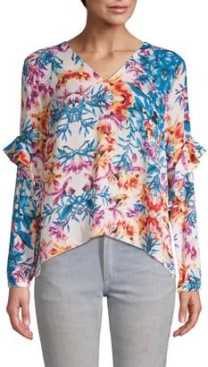 Nicole Miller Floral-Print V-Neck Top